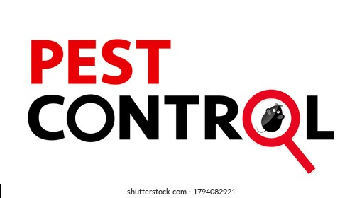 Pest control web banner such rodents, mice and rats. silhouette of a mouse under a magnifying glass on a white background