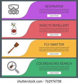 pest control web banner templates set respirator insects repellent fly swatter