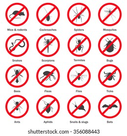 Pest and insect control icons set. Vector EPS8 illustration.