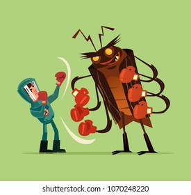 Pest insect control man worker character fight wth big huge monster bug gnat termite. Extermination mosquito service concept. Vector flat cartoon graphic design isolated illustration