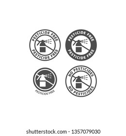 Pesticide free and no pesticides ingredient circle label icon set. Pesticide free vector badge sticker set for packaging.