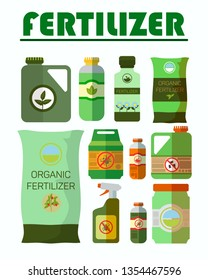 Pesticides, Herbicides Bottles Illustrations Set. Organic Fertilizer Bag. Anti Bug, No Beetle, Bug Sign. Insecticide Sprayer. Poisonous Chemicals in Plastic Canister. Toxic Liquid Cans Cliparts Pack