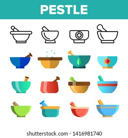 Pestles With Mortars Vector Color Icons Set. Pestles With Bowls Linear Symbols Pack. Herbs And Spices Manual Grinding. Kitchen, Pharmacy Modern And Ancient Implements Isolated Flat Illustrations