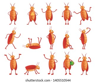 Pests cockroach vector icons set. Cartoon set of pests cockroach vector icons for web design