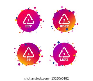 PET 1, Ld-pe 4, PP 5 and Hd-pe 2 icons. High-density Polyethylene terephthalate sign. Recycling symbol. Gradient circle buttons with icons. Random dots design. Vector