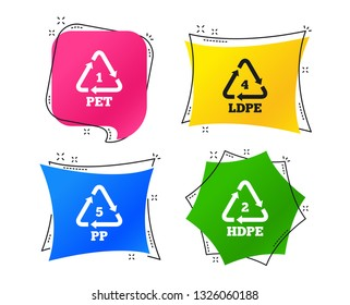 PET 1, Ld-pe 4, PP 5 and Hd-pe 2 icons. High-density Polyethylene terephthalate sign. Recycling symbol. Geometric colorful tags. Banners with flat icons. Trendy design. Vector