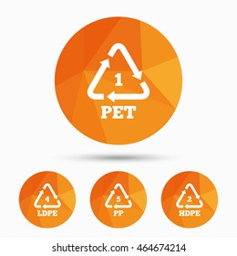 PET 1, Ld-pe 4, PP 5 and Hd-pe 2 icons. High-density Polyethylene terephthalate sign. Recycling symbol. Triangular low poly buttons with shadow. Vector