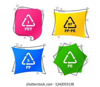 PET 1, PP-pe 07, PP 5 and PE icons. High-density Polyethylene terephthalate sign. Recycling symbol. Geometric colorful tags. Banners with flat icons. Trendy design. Vector