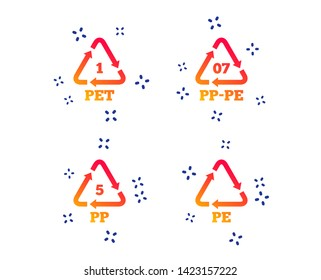 PET 1, PP-pe 07, PP 5 and PE icons. High-density Polyethylene terephthalate sign. Recycling symbol. Random dynamic shapes. Gradient plastic pet icon. Vector