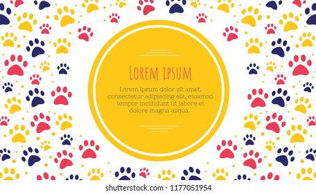 pet advertising banner templates. Place for text. veterinary clinic and zoo shop. grooming. paw ornament