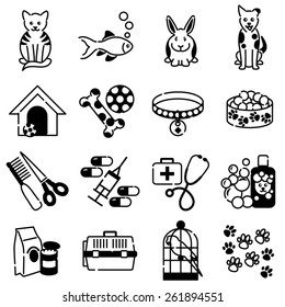 Pet animal care black icons