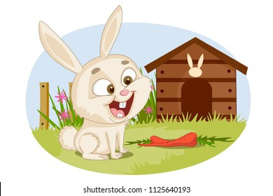 Pet animal Rabbit on farm nature background in vector