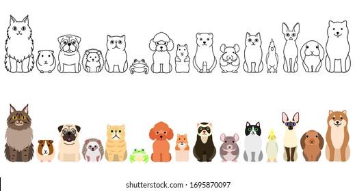pet animals border set, full body, large group