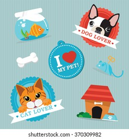 pet animals and objects vector illustration