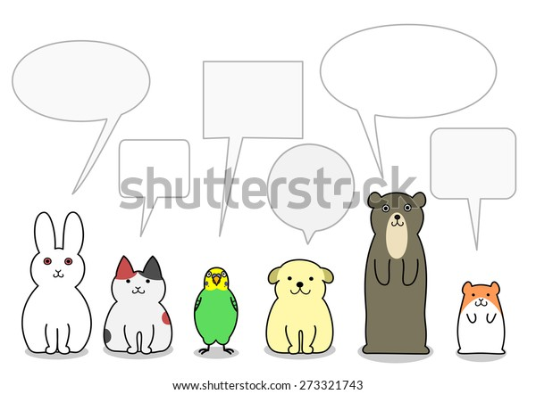 Pet Animals Row Speech Bubbles Stock Vector (Royalty Free