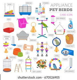 Pet appliance icon set flat style isolated on white. Birds care collection. Create own infographic about parrot, parakeet, canary, thrush, finch, amadina, siskin, bunting. Vector illustration