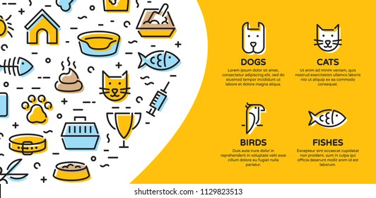 Pet banner template with vector graphic icon set. Card flyer poster illustration with your text for veterinary clinic, zoo, petfood. Flat style design with cat, dog, fish, bird and related signs