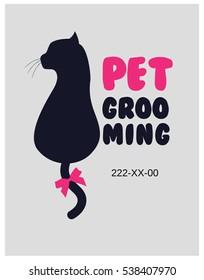 Pet beauty salon logo. Pet grooming salon. Vector cat silhouette