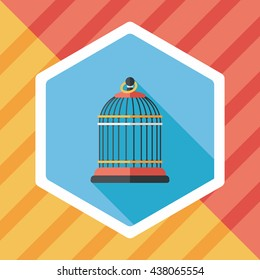 Pet bird cage flat icon with long shadow, eps10