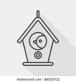 Pet bird house flat icon with long shadow, line icon