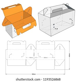 Pet box with handle and Die-cut Pattern