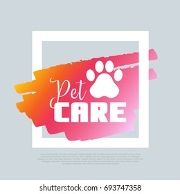 Pet Care. Animal footprint. Vector clip-art.