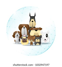 Pet care concept with dogs protected in polygonal sphere shield , vector , illustration