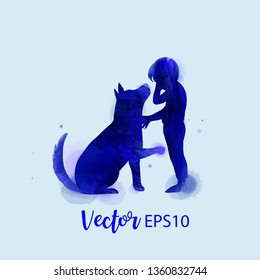 Pet care. Girl playing with dog  silhouette on watercolor background. The concept of trust, friendship . Digital art painting
