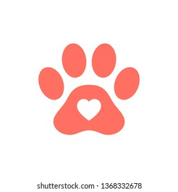 Pet care icon in love symbol in animal footprint.