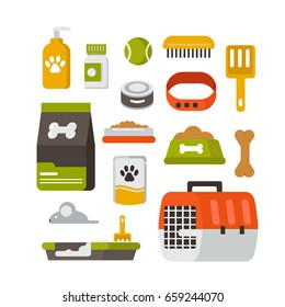 Pet care icons. Flat style vector illustration isolated on white background.