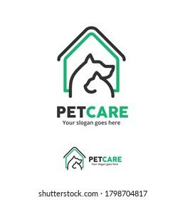 Pet Care Logo with Dog and  Cat with house Symbol