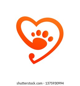 pet care logo, love, palm with gradation color, logo style