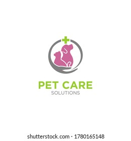 Pet care logo medical health, cat and dog and other animal veterinary logo template.