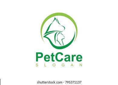 Pet Care logo template with circle