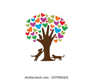 Pet Care Logo Tree And Hand Logo Concept In White Isolated Background