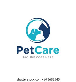 pet care shop dog with cat logo icon vector template