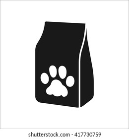Pet cat food bag sign simple icon on  background