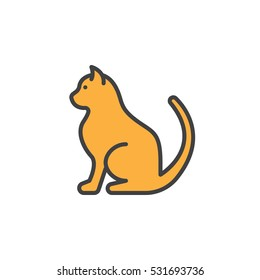Pet cat line icon, filled outline vector sign, linear colorful pictogram isolated on white. Symbol, logo illustration