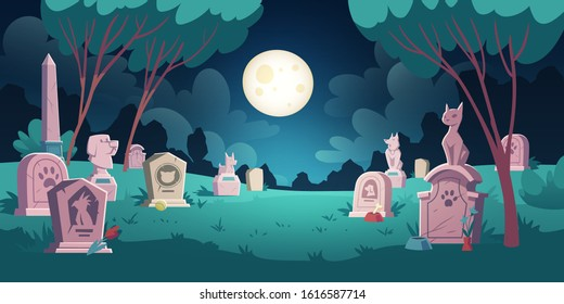 Pet cemetery with memorial tombstones, graves for dead dogs and cats. Vector cartoon night landscape with graveyard for burial animals after death. Spooky illustration for Halloween card