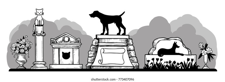 Pet cemetery. Vector illustration of a variety monuments, crypts and flowers on a white background.