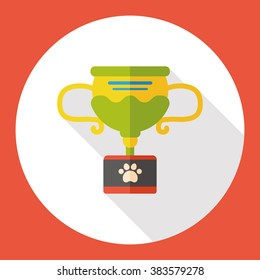 pet champion trophy flat icon