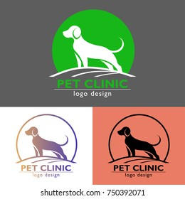 Pet clinic logo design. One logo concept with three color variations.