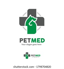 Pet Clinic Logo with Dog and  Cat with Cross Symbol