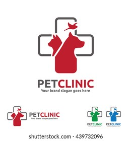 Pet Clinic  Logo with Dog, Cat and Bird with Cross Symbol