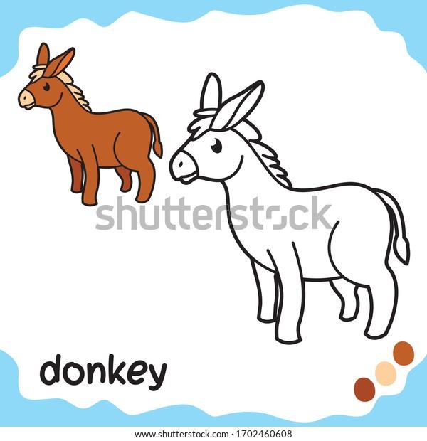 Pet Coloring Sheets Kids Coloring Donkey Stock Vector (Royalty Free)  1702460608
