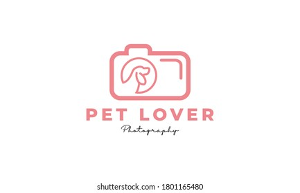 pet or dog or cat camera lens photography logo design icon vector