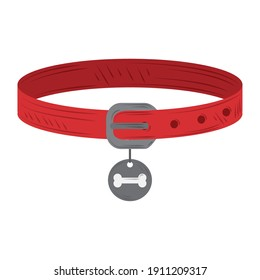 pet dog or cat red collar with silver medal vector illustration