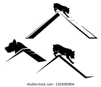 pet dog running the agility sport obstacle - black and white vector design set