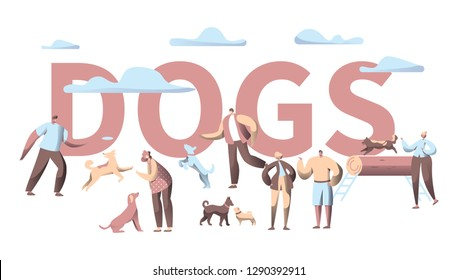 Pet Dog Typography Horizontal Banner. Animal Friend Group Play with People Character in City Park Outdoor. Multiple Breed Print Poster Template Flat Cartoon Vector Illustration
