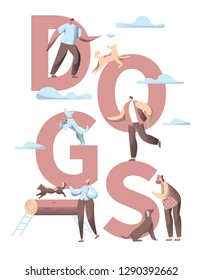 Pet Dog Typography Vertical Banner. Animal Friend Group Play with People Character in City Park Outdoor. Multiple Breed Print Poster Template Flat Cartoon Vector Illustration